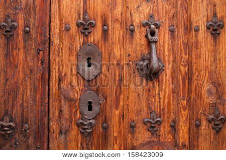 Nice old door with wrought iron decoration