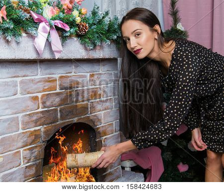 Woman Putting Logs In Fireplace. Close up