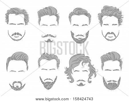 vector set of different male mustache beard hair care line silhouette sketch posters for hairdresser.