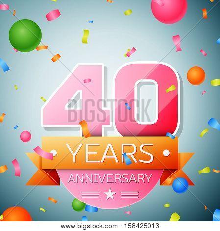 Forty years anniversary celebration background. Anniversary ribbon
