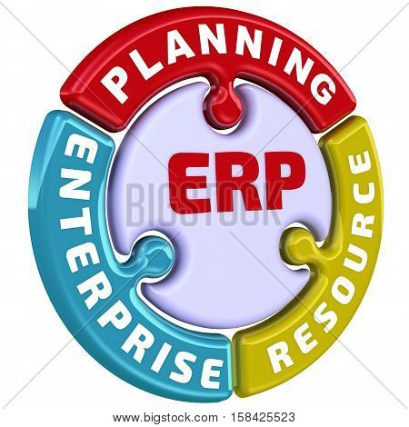 ERP. Enterprise resource planning. The check mark in the form of a puzzle. The inscription
