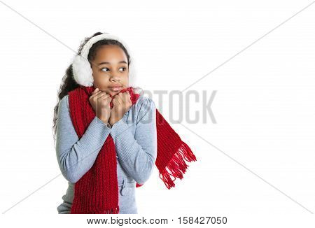 A Beautiful Dark-skinned Girl In A Red Scarf. Cold. Girl Froze