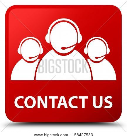 Contact Us (customer Care Team Icon) Red Square Button