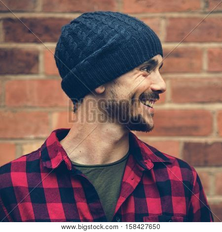 Man Beanie Hat Hipster Style Brick Wall Smiling