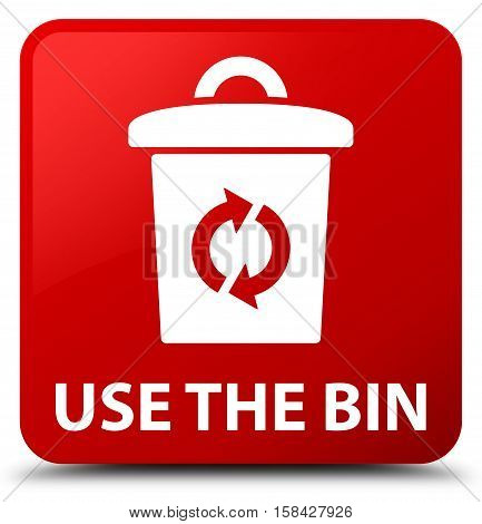 Use the bin isolated on abstract red square button
