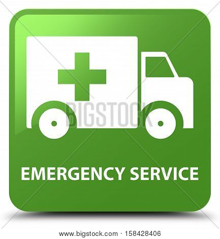 Emergency service soft isolated on abstract green square button