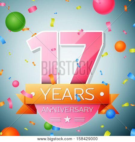Seventeen years anniversary celebration background. Anniversary ribbon