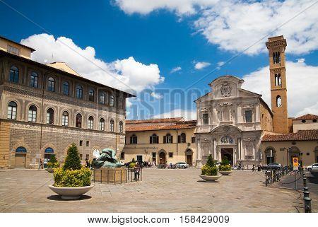Sqare and Chiesa di San Salvatore di Ognissanti. Italy, Florence