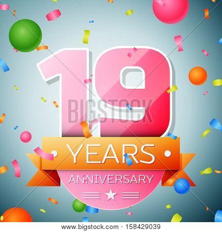 Nineteen years anniversary celebration background. Anniversary ribbon