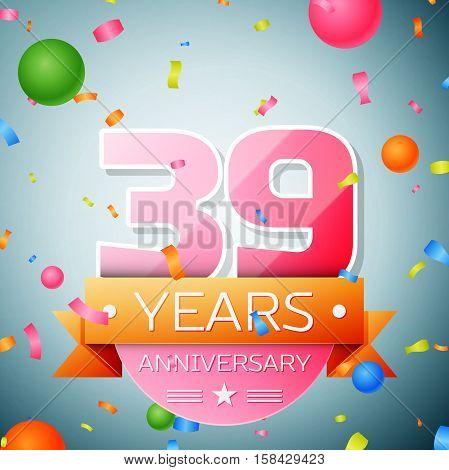 Thirty nine years anniversary celebration background. Anniversary ribbon