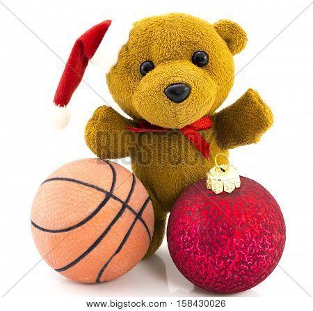 Teddy Bear With Red  Christmas Balls And Basketball Ball/christmas/teddy