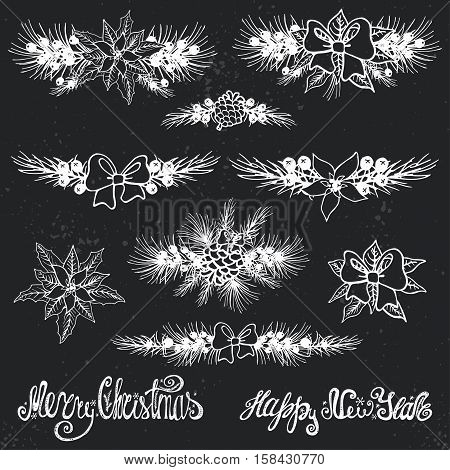 Merry Christmas and new year borders decoation set.Spruce fir tree branches, Poinsettia flowers, pine cones, berries, holly, ribbons with lettering, holiday composition.Vector Illustration.Chalkboard
