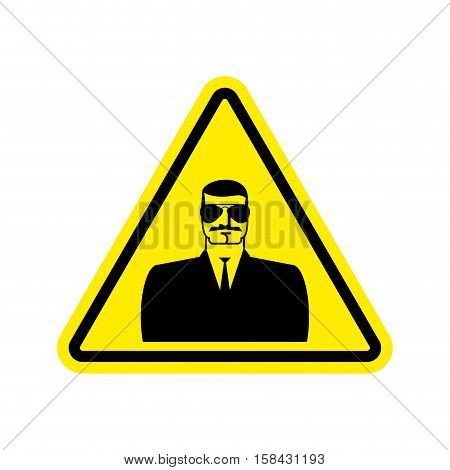 Spy Warning Sign Yellow. Secret Agent Hazard Attention Symbol. Danger Road Sign Triangle Snoop