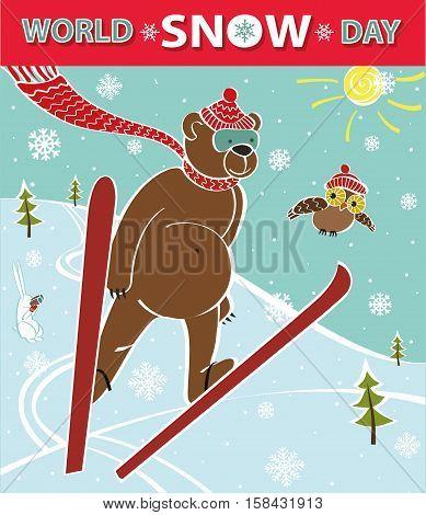 World Snow day.Cartoon bear ski jumping.Vector humorous illustration.poster, design template.Intarnational winter sport day.