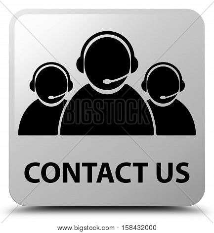 Contact Us (customer Care Team Icon) White Square Button