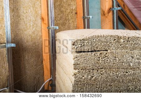 Rock wool for attic/loft insulation metal construction