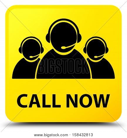 Call Now (customer Care Team Icon) Yellow Square Button