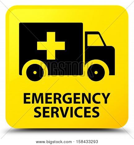 Emergency (ambulance icon) services yellow square button