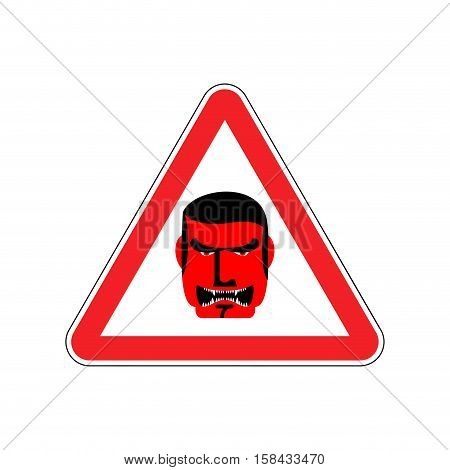 Angry Boss Warning Sign Red. Evil Head Hazard Attention Symbol. Danger Road Sign Triangle Terrible D