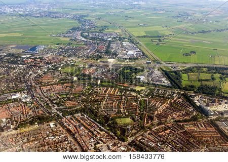 Amsterdam aerial view from plane, Holland, Netherlands