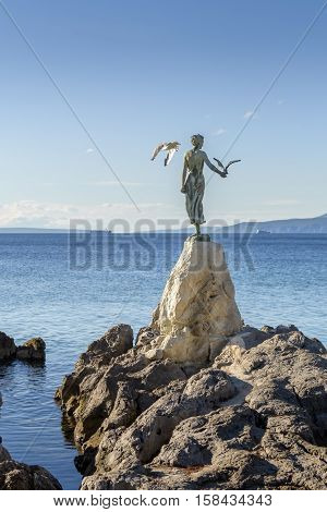 Maiden Girl With Seagull, Statue On Rocks, Opatija, Croatia