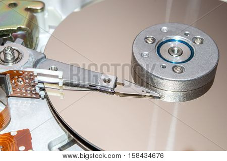 Closeup of inside of a hard disk drive. HDD