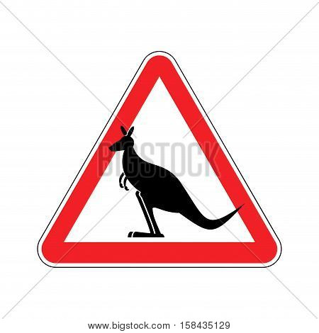 Kangaroo Warning Sign. Wallaby Hazard Attention Symbol. Danger Road Sign Red Triangle Australian Wil