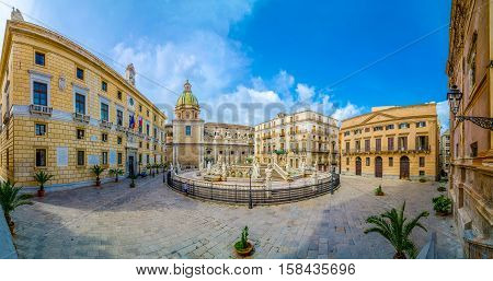 Panoramic View Of Piazza Pretoria, Palermo, Sicily, Italy.