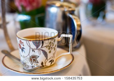 Fancy cup of tea for high tea in the afternoon