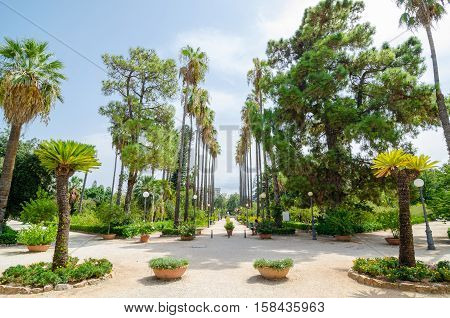 The Main Entrance To The Botanical Garden, Palermo, Sicily, Italy.
