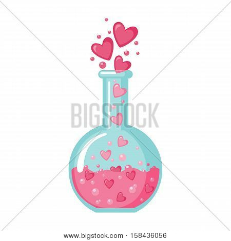 Flask with hearts icon in flat style isolated on white background. Love elixir logo. Vector illustration.