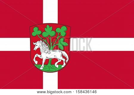 Flag of Horsens in Central Jutland Region in Denmark