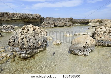 Eroded Rocky Beach at Cape Drepanon Agios Georgios Pegeia Cyprus