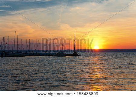 Beautiful sunset over lake Balaton (Siofok Hungary)