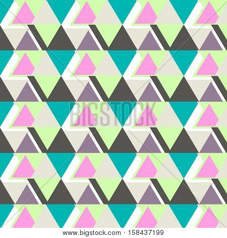 Vector cool modern triangle pattern. Abstract contemporary decoration. Simple repetition geometric polygons in pastel colors