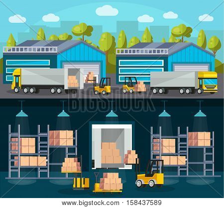 Warehouse logistics compositions with product shipment to trucks and interior of storehouse and machinery isolated vector illustration