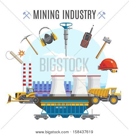 Mining industial background composition with factory equipment and transportation vehicles flat symbols with editable title text vector illustration
