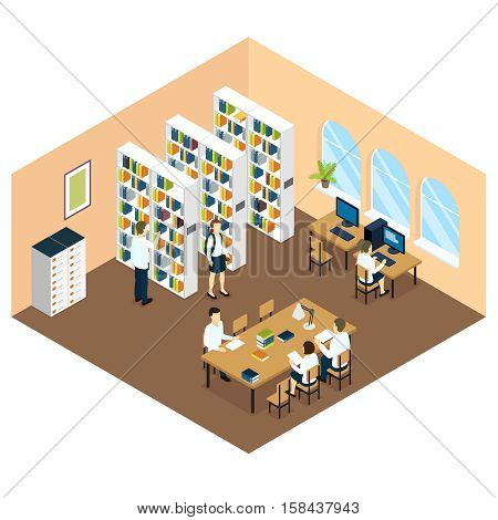 Student library isometric design with children bookcases and computers in beige room with arcged windows vector illustration