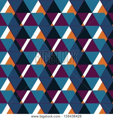 Vector geometric pattern.Abstract Texture with triangles, rhombs. Navy Mosaic. Rhomb hand-drawn pattern, wave line background