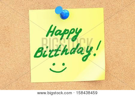 Happy Birthday inscription on a sticky note pinned to a corkboard. 3D rendering