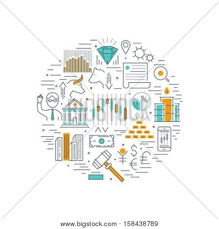 Stock market linear round composition with real estate binary options and auction currency and minerals vector illustration
