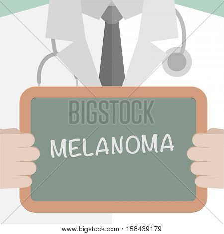 minimalistic illustration of a doctor holding a blackboard with Melanoma text, eps10 vector