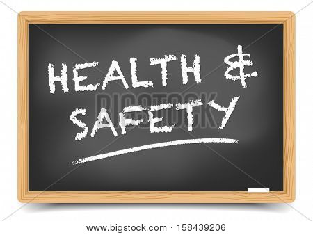 detailed illustration of a blackboard with Health Safety text, eps10 vector, gradient mesh included