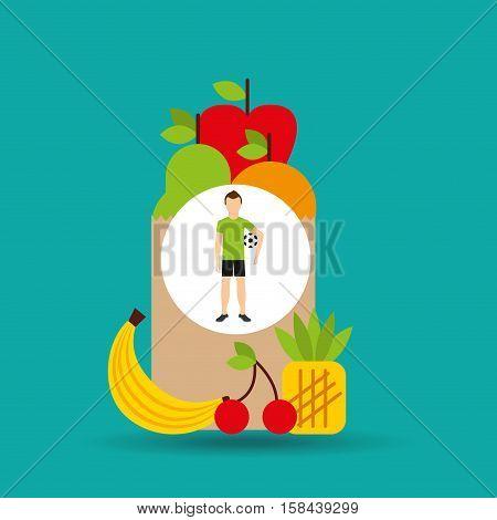 man soccer exercising bag health food vector illustration eps 10
