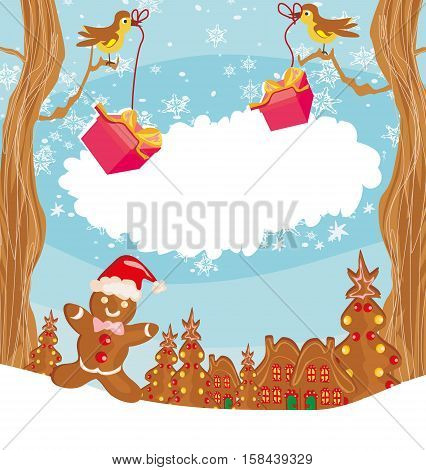 christmas card with a ginger-bread and funny landscape , vector illustration