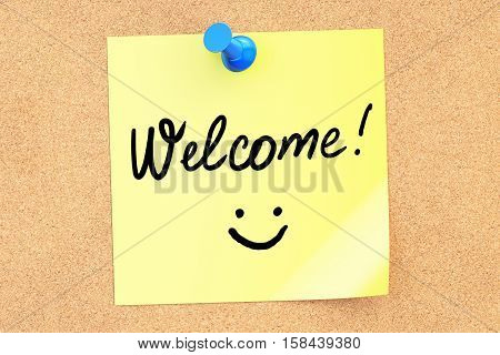 Welcome text on a sticky note pinned to a corkboard. 3D rendering