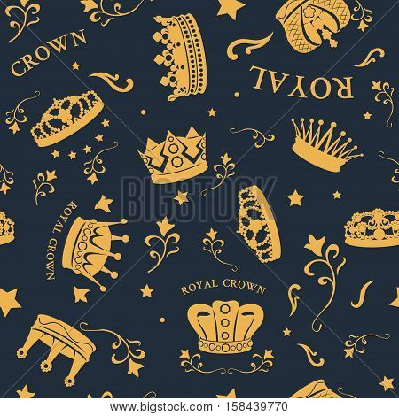 Golden crown seamless background pattern with decorations for monarchs placed randomly vector illustration