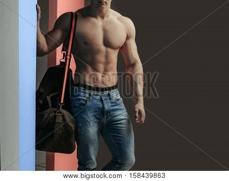 Sexy Muscular Man With Bag