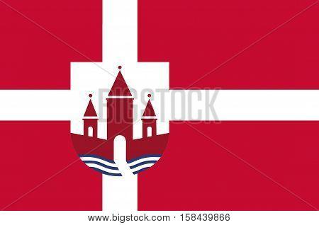 Flag of Randers in Central Jutland Region in Denmark