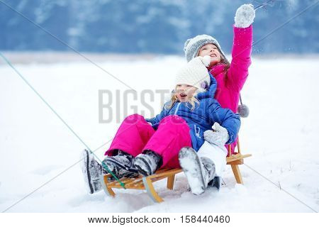 Two Cute Little Sisters Having Fun With A Sleight In Winter Park